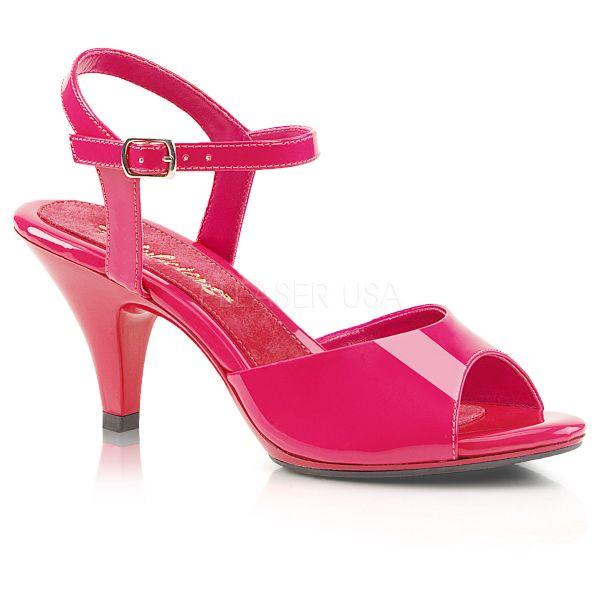 BELLE-309 Klassische Sandalette mit Riemchen hot pink Lack